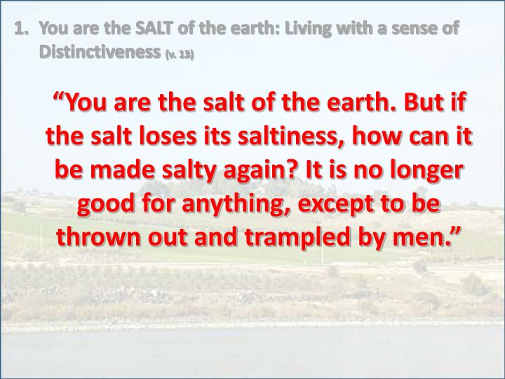 You are the SALT of the earth: Living with a sense of Distinctiveness