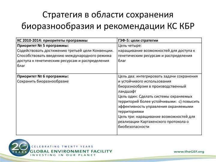 Стратегия в области сохранения биоразнообразия и рекомендации КС КБР