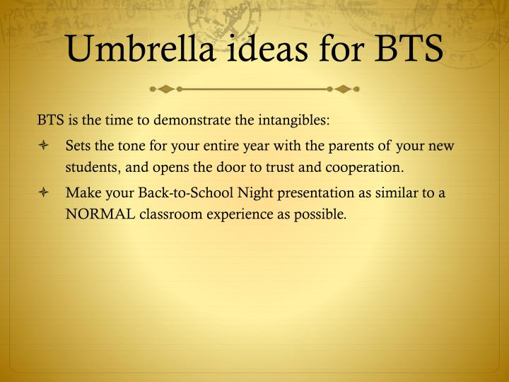 Umbrella ideas for bts1