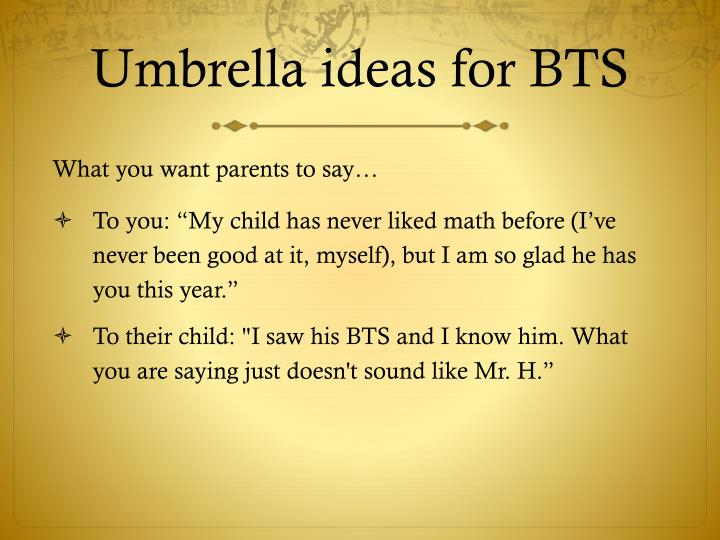 Umbrella ideas for BTS