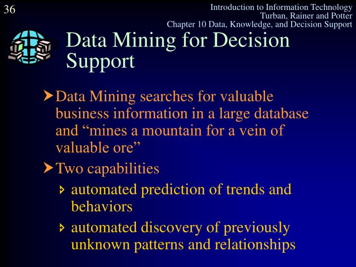 Data Mining for Decision Support