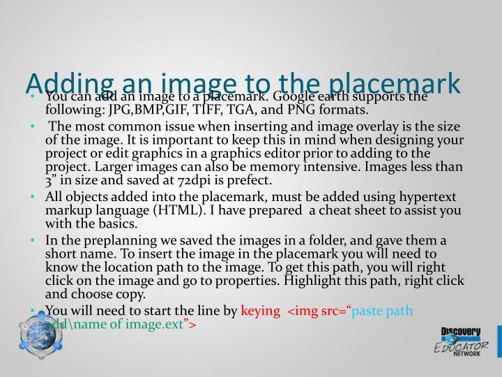 Adding an image to the placemark