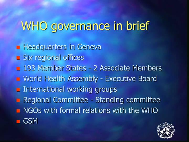 WHO governance in brief