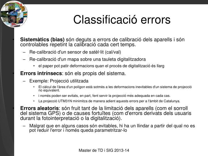 Classificació errors