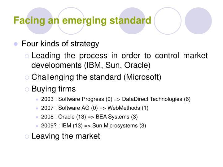 Facing an emerging standard
