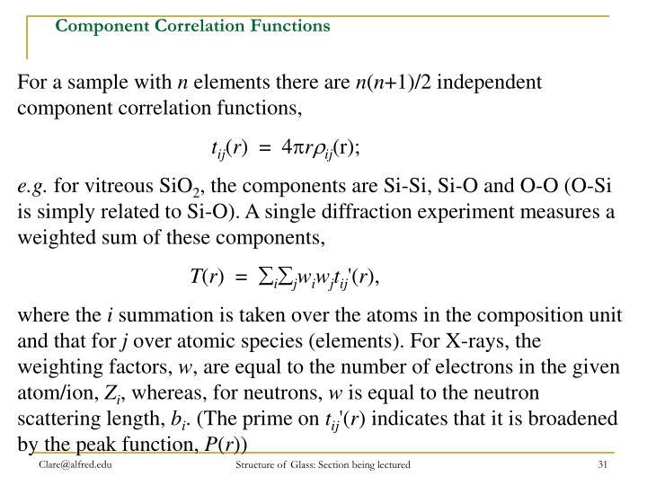 Component Correlation Functions