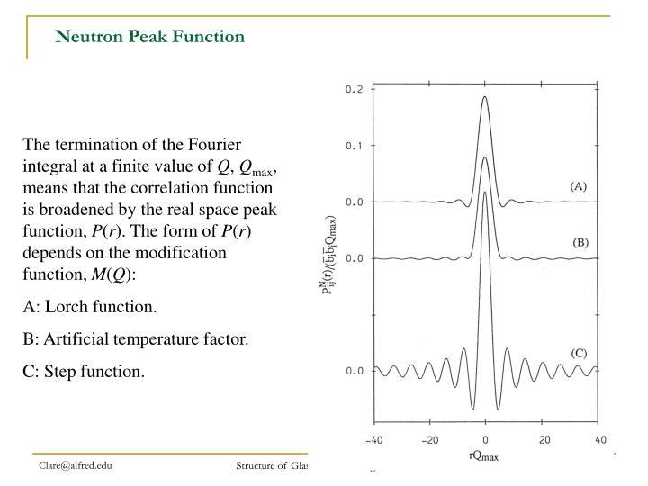 Neutron Peak Function