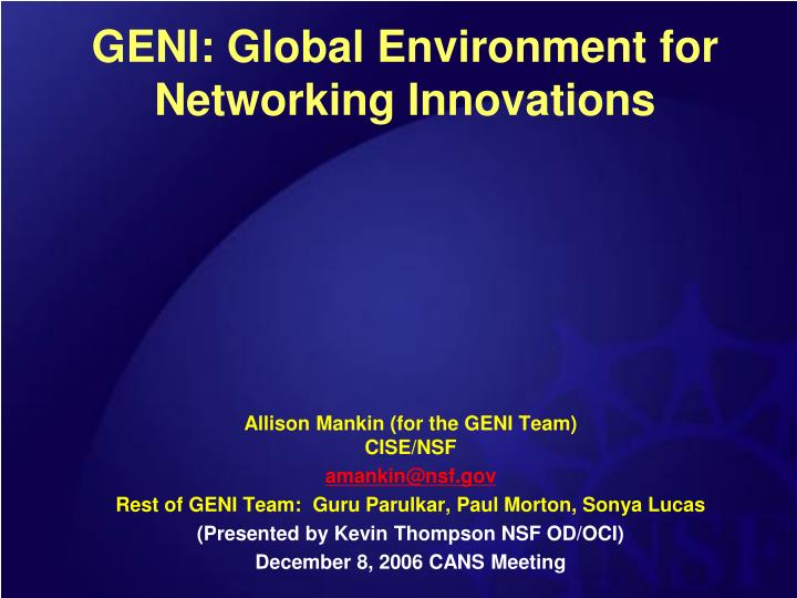 geni global environment for networking innovations n.