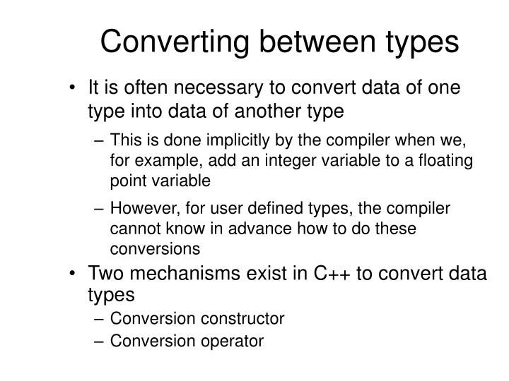 Converting between types