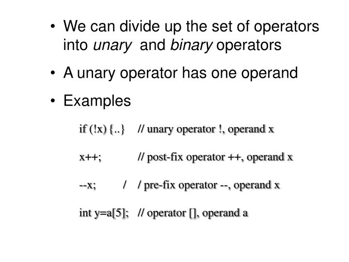 We can divide up the set of operators into