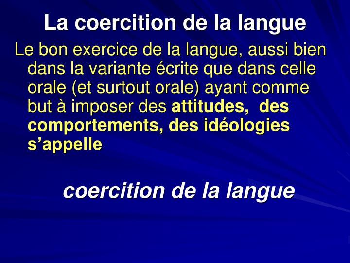 La coercition de la langue