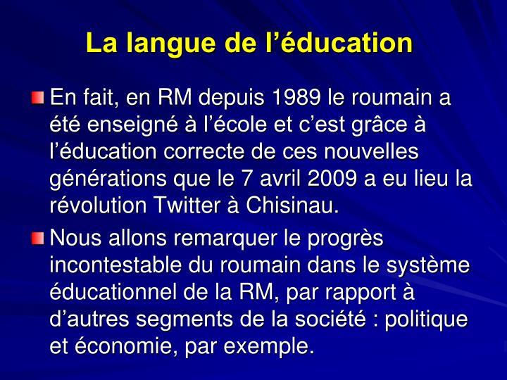 La langue de l'éducation