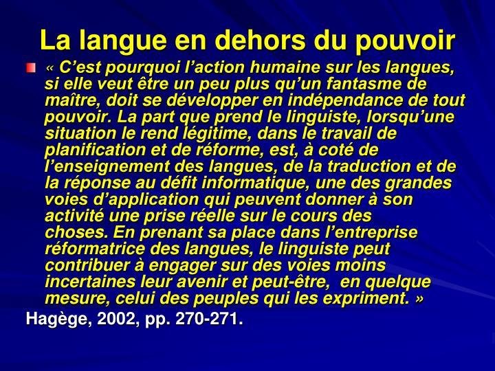 La langue en dehors du pouvoir