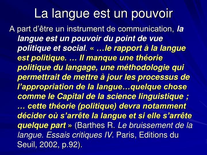 La langue est un pouvoir