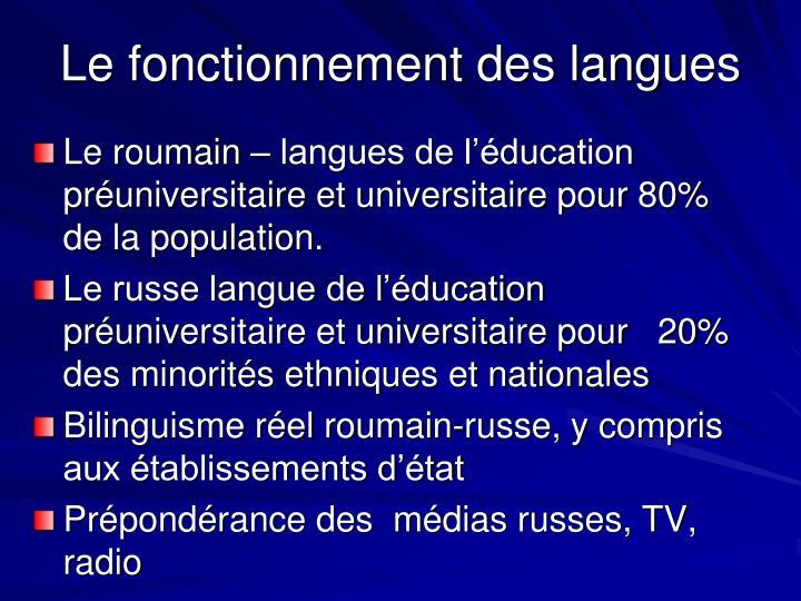 Le fonctionnement des langues