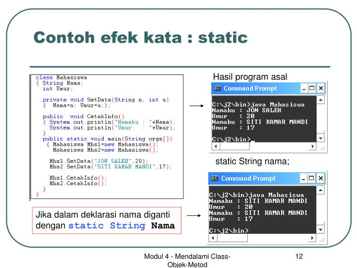 Contoh efek kata : static