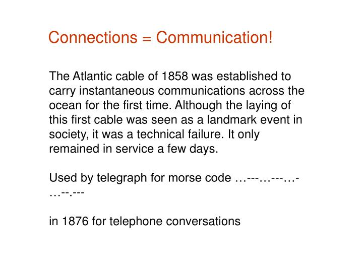 Connections = Communication!