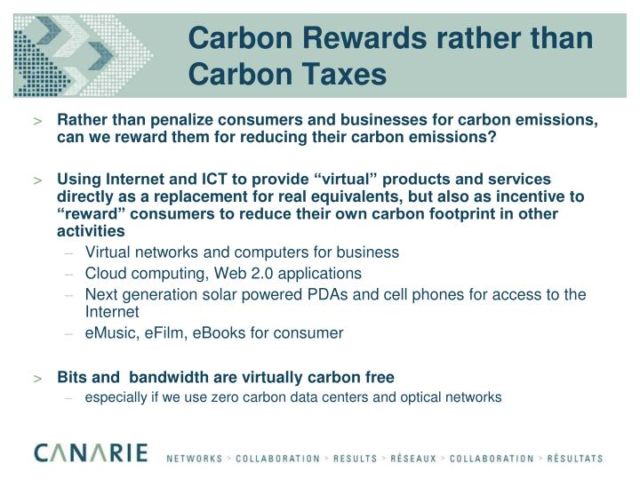 Carbon Rewards rather than Carbon Taxes