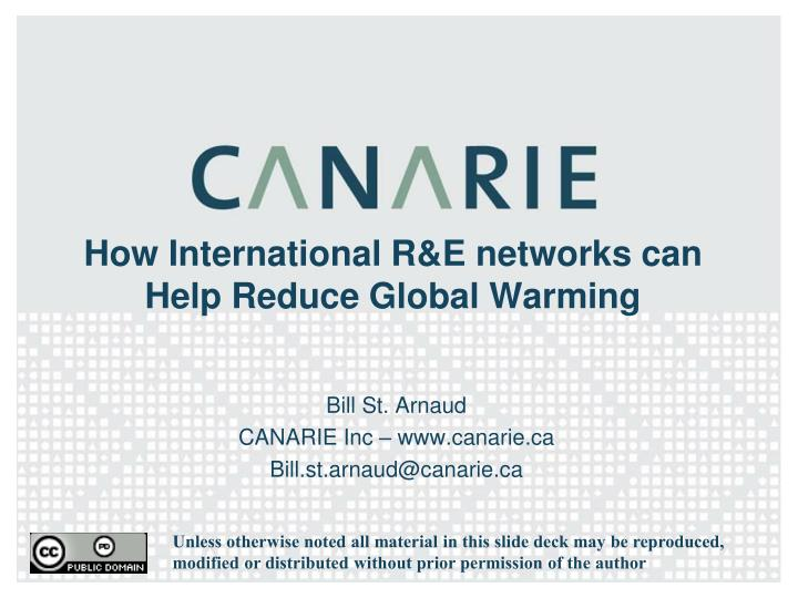 How international r e networks can help reduce global warming