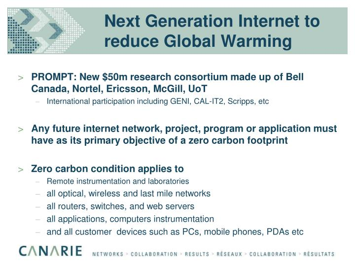 Next Generation Internet to reduce Global Warming