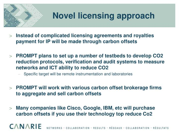 Novel licensing approach