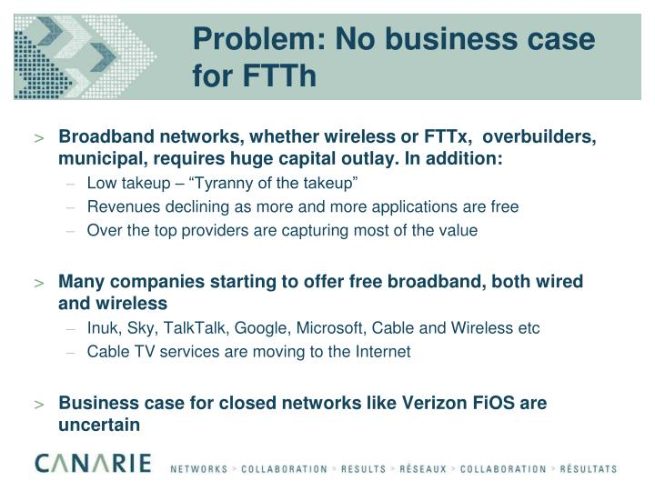 Problem: No business case for FTTh