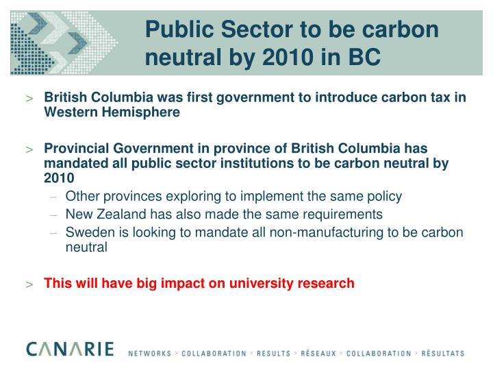 Public Sector to be carbon neutral by 2010 in BC