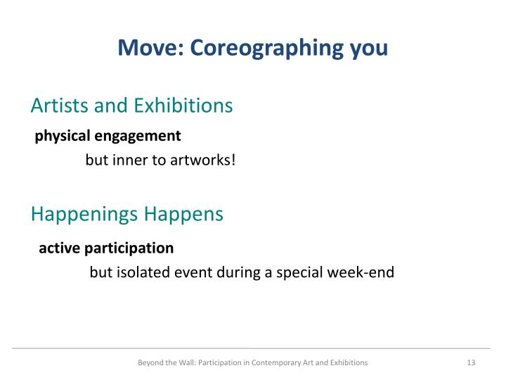 Move: Coreographing you