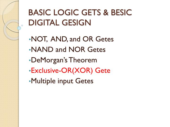 BASIC LOGIC GETS & BESIC DIGITAL GESIGN
