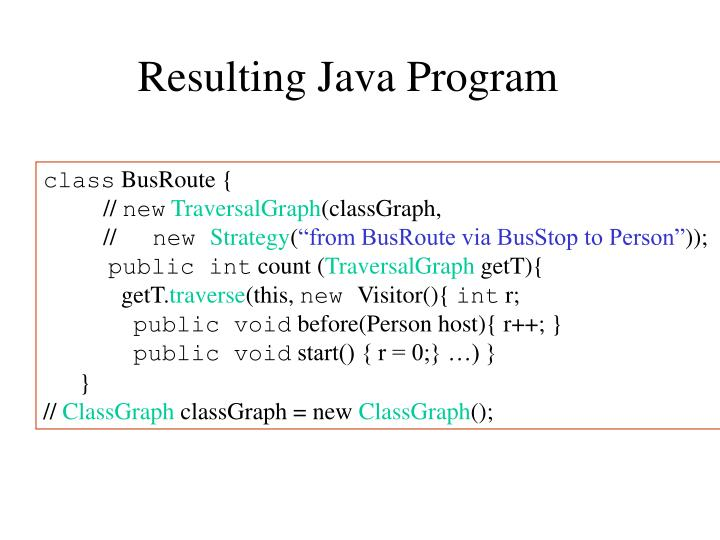 Resulting Java Program