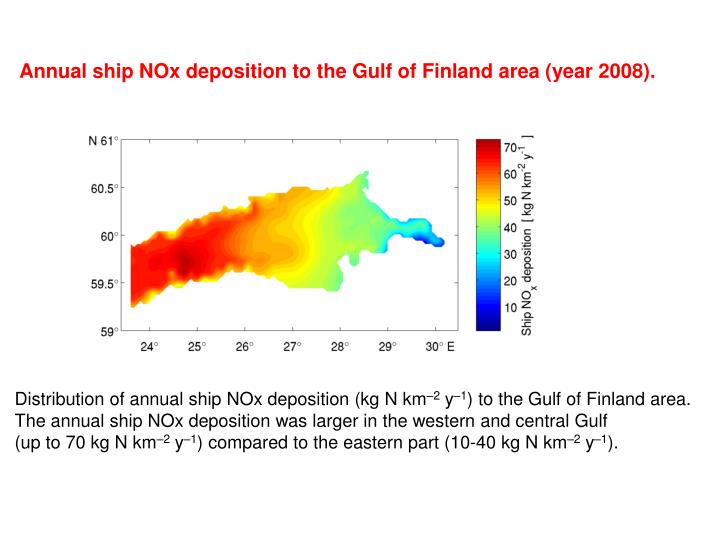 Annual ship NOx deposition to the Gulf of Finland area
