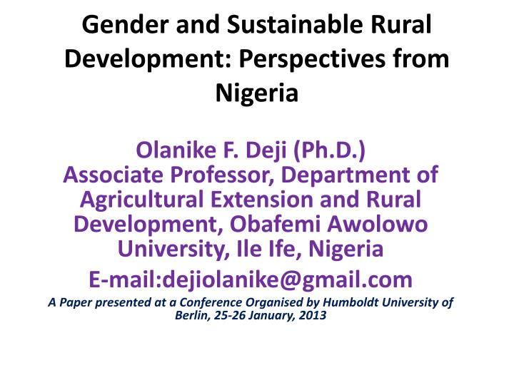 gender and sustainable rural development perspectives from nigeria n.