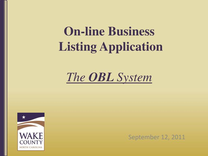 on line business listing application the obl system n.