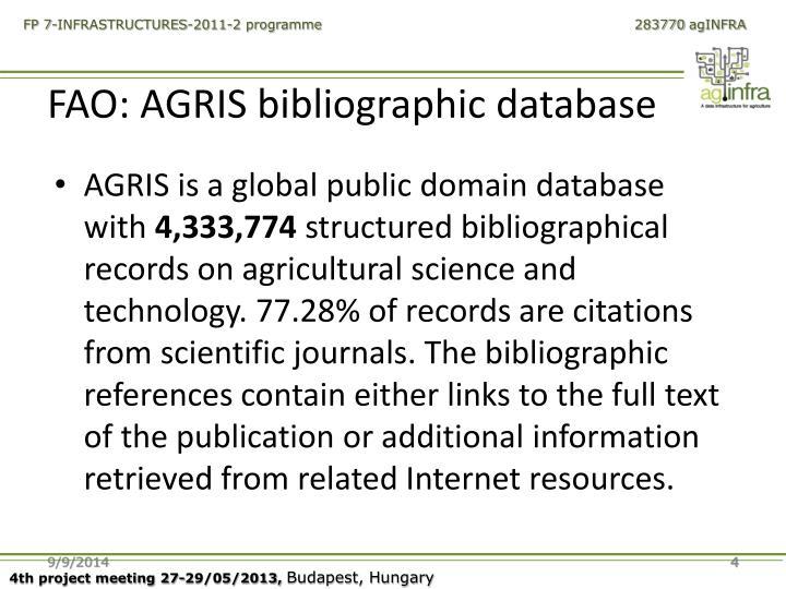 FAO: AGRIS bibliographic database