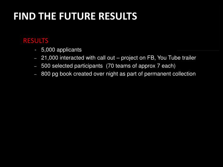 FIND THE FUTURE RESULTS