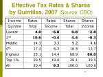effective tax rates shares by quintiles 2007 source cbo