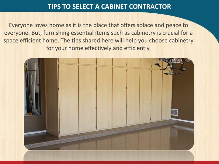 Tips to select a cabinet contractor