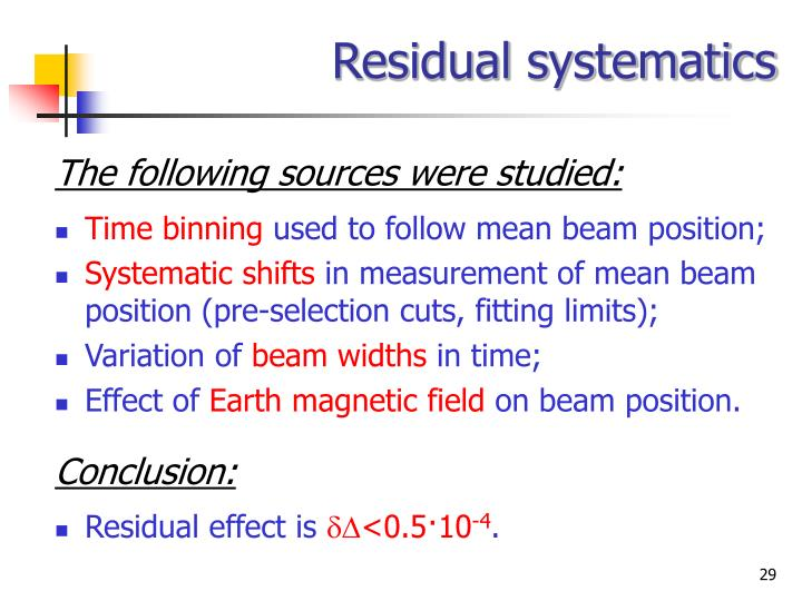 Residual systematics