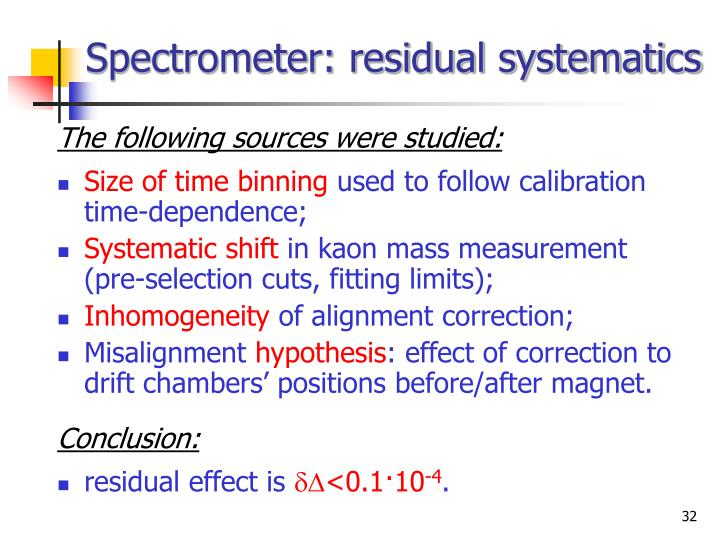 Spectrometer: residual systematics