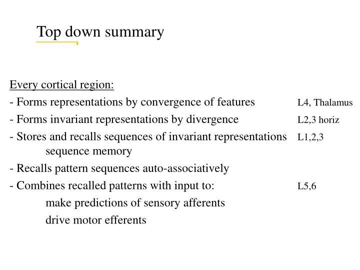 Top down summary