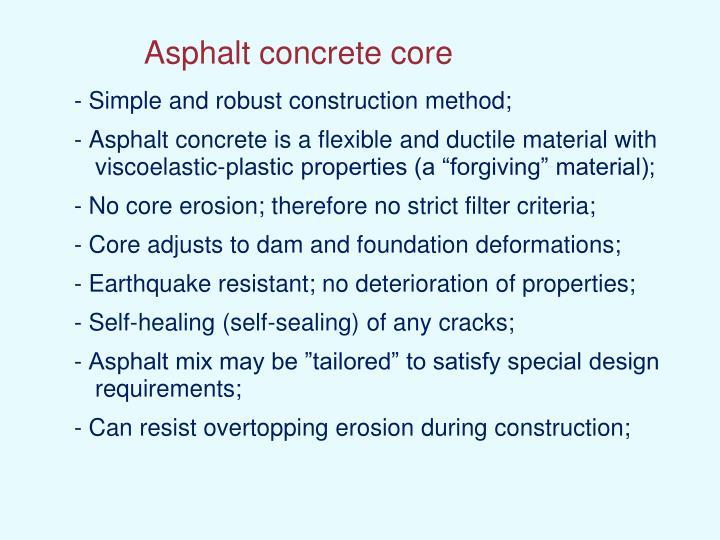 Asphalt concrete core