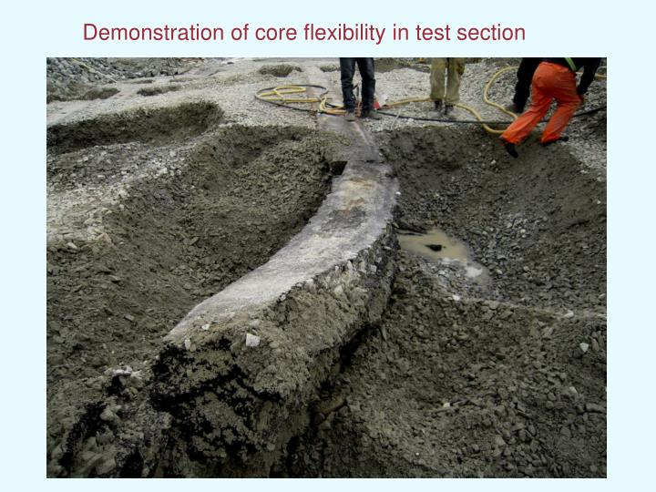 Demonstration of core flexibility in test section