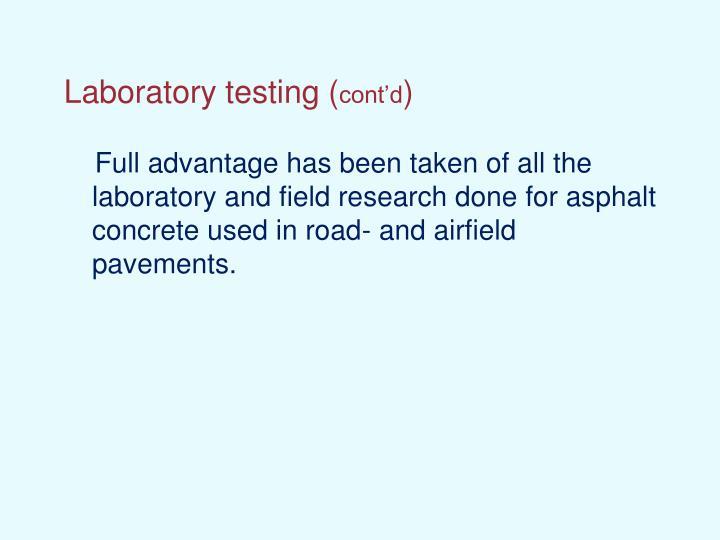 Laboratory testing (