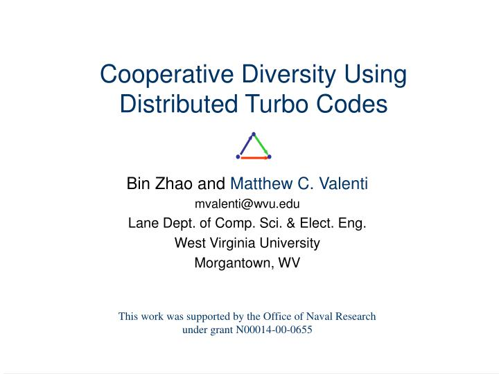Cooperative diversity using distributed turbo codes