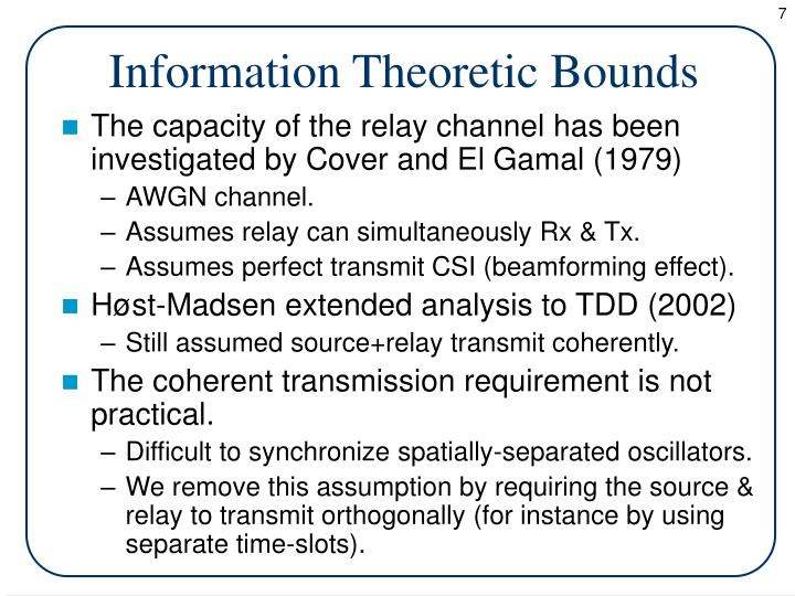 Information Theoretic Bounds