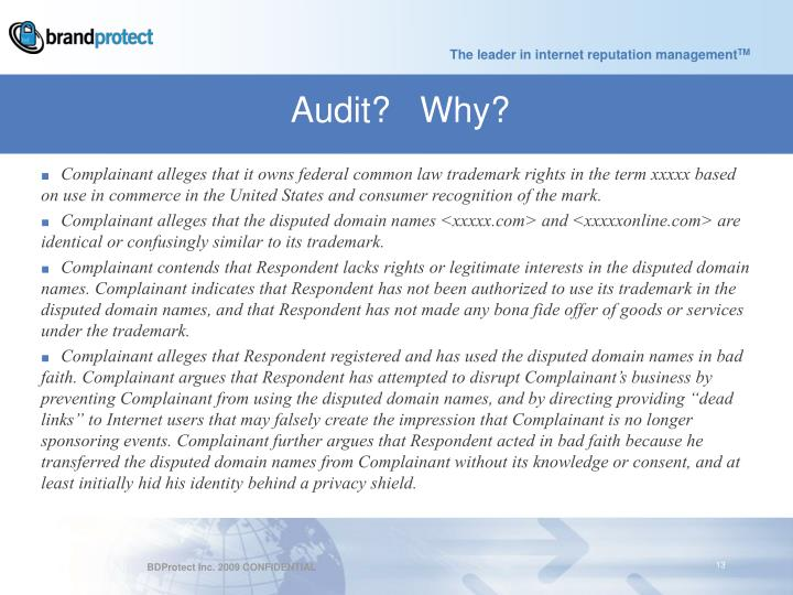 Audit?   Why?