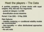 meet the players the data
