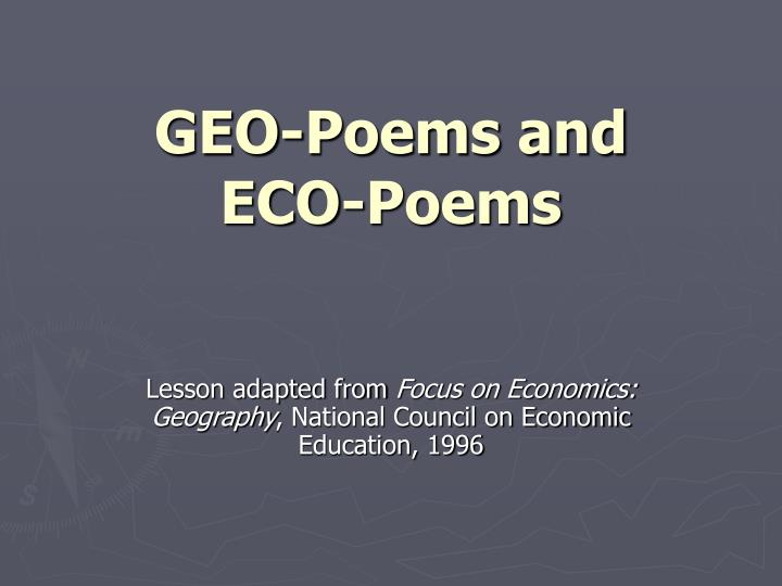 geo poems and eco poems n.