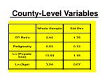 county level variables