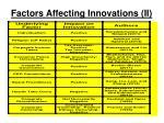 factors affecting innovations ii